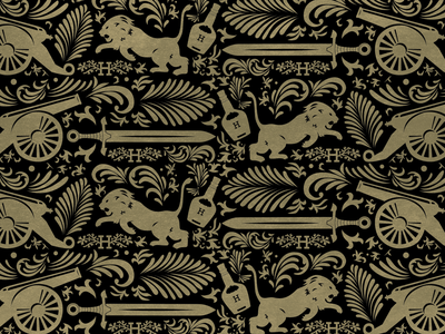 Hennessy Pattern dribbble designer graphic  design golden hennessy graphic pattern design patterns 2 color gold foil gold alchohol cannon embellished lion sword pattern whiskey