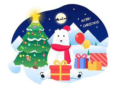 Merry Christmas pine tree snow moon red smiling face stars santa claus christmas tree polar bear balloon hat scarf christmas merry christmas gift box gift bear ux ui illustration