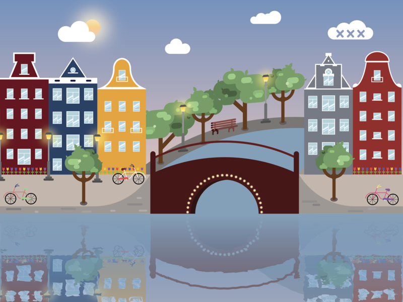 Amsterdam xxx lamps light tulips sun watercolor reflection sky clouds architecture bike trees canals illustration design icon holland netherlands amsterdam