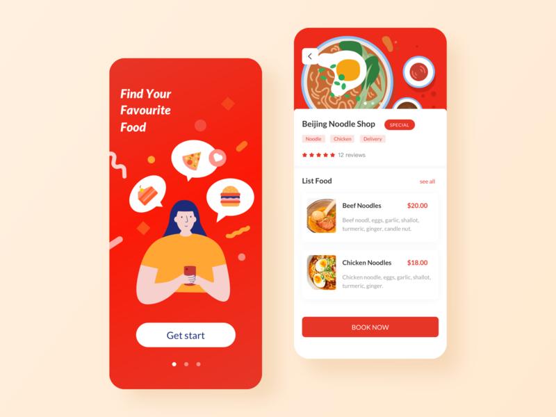 EUFOOD-A Food Finder Application illustration app ui ux design