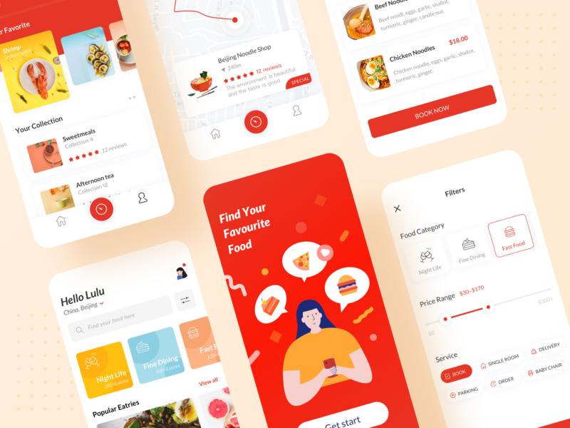 Food Finder Application branding web illustration app ux ui design