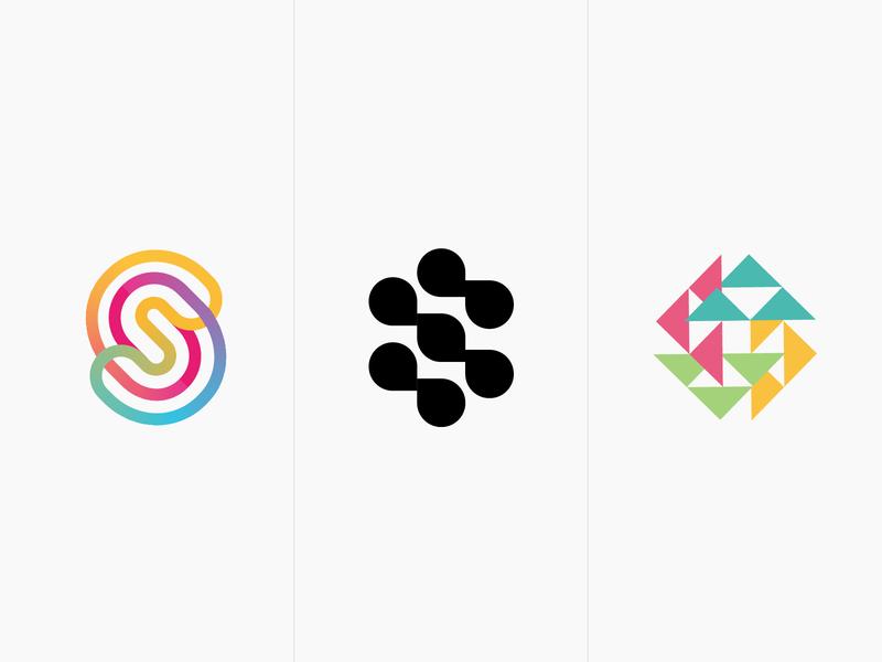 collection S 1 letter s line fun gradient brand logotype design monogram letter minimal logo