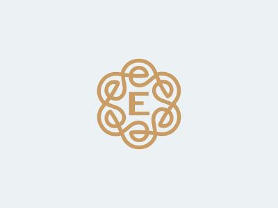 Ornament letter e e logo e letters line fun gradient brand logotype design monogram letter minimal logo