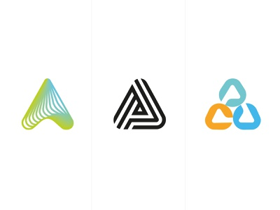 logo A fun part1 a gradient brand logotype design monogram letter minimal logo