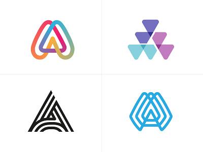 logo A piste2 a line fun gradient brand logotype design monogram letter minimal logo