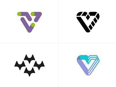 logo v fun line fun gradient brand logotype design monogram letter minimal logo