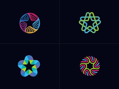 logo star sketch line fun gradient brand logotype design monogram letter minimal logo