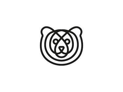 minimal bear face face animal bear round line fun brand logotype design monogram letter minimal logo