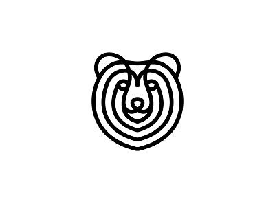 minimal bear line monoline face bear animal round line fun brand design logo minimal