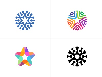 star exploration star line fun gradient brand logotype design monogram letter minimal logo