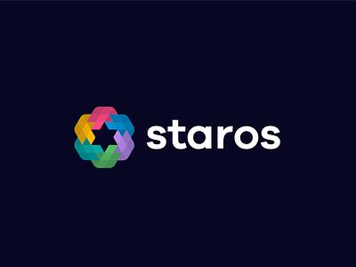 logo staros - star line fun gradient brand logotype design monogram letter minimal logo