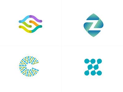 letter medical S Z C Z c z s line fun gradient brand logotype design monogram letter minimal logo