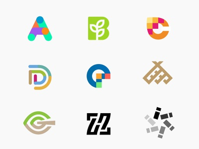 logo letter part A - I minimal brand i monogram h g f e d c b a logo