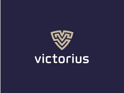 Logo victorius - v protect shield modernisme design brand fun abstract logo eye
