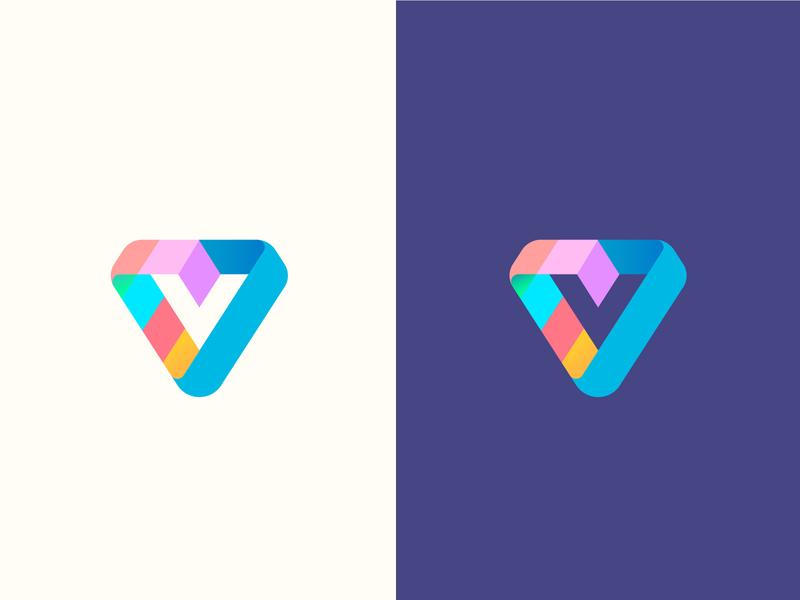 Logo V 1/ letter V branding vector abstract gradient brand logotype v logo v letter minimal logo
