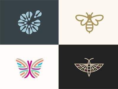 logo bug set A bug bee butterfly minimal logo