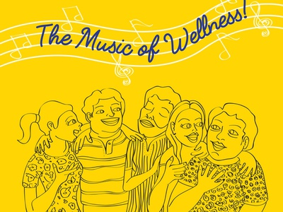 Music Of Wellness print design typography vector branding illustration