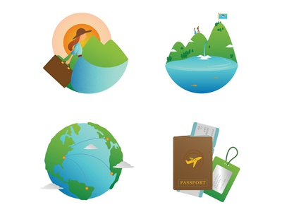 Closer look at icons made for conceptual Travel Network App