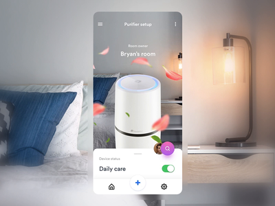 Air Purifier - Smart Home App air condition transitions air control smart house interface interactive swipe principle concept 7ninjas motion interaction app animation ios assistant smart home air purifier