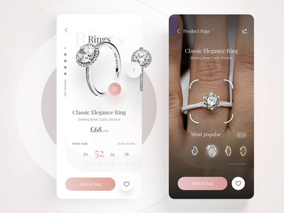 "Pandora App - Ring Size & AR ""Try on"" grid jewelry design motion e-commerce concept ios ux ui interface interaction mobile animation 7ninjas choosing size measure augmentedreality slider pandora app"