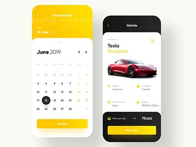 Hertz Car Rental - App Redesign ios europcar avis hertz rent a car mobile ui design tesla card animation interaction interface app service rental automotive car booking car rent car rental 7ninjas