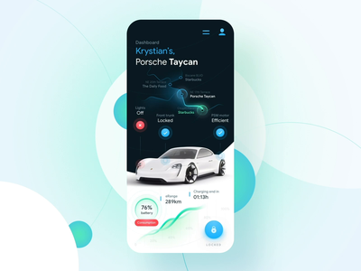 Porsche Car Connect Mobile App Concept chart navigation map smart car electric car automotive remote interaction ios location tracker controller app control car assistance remote control car connect taycan porsche 7ninjas