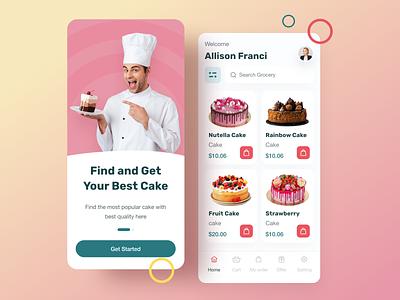 Cake App UI design ux cake app cake cookies food app foodies birthday app cookies app birthday cake foodies app mobile app mobile ui clean ui uiux minimalist mobile cake shop app shopping ui