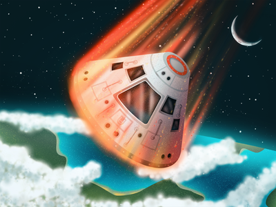 Command Module Reentry illustration reentry saturn v command module exploration astronomy space rocket apollo