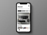 Decor minimal simple clean search decor home explore discover cards modern app landing modern design iphone ios