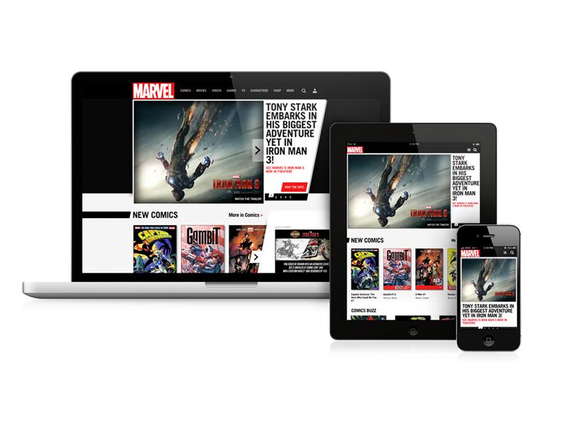 Marvel.com responsive homepage redesign marvel responsive web design