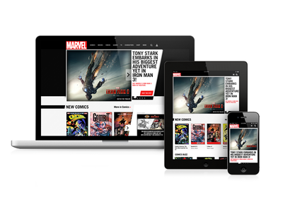 Marvel.com responsive homepage redesign