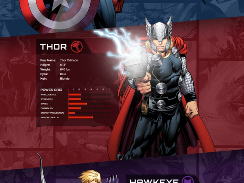 Marvel Kids: Avengers teaser page marvel web design scrollmotion parallax