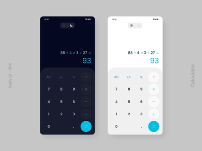 Daily UI 004 - Calculator Design app ui app light calculator dark calculator light dark ui daily 100 challenge calculator daily challange dailyui adobe xd daily 100 daily ui