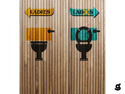 Toilet Signage Concept symbol icon logo a day conceptual illustration conceptual artwork conceptual design concept design conceptual art concept art typography bold concept vector art logo branding illustration vector icon design flat 2d
