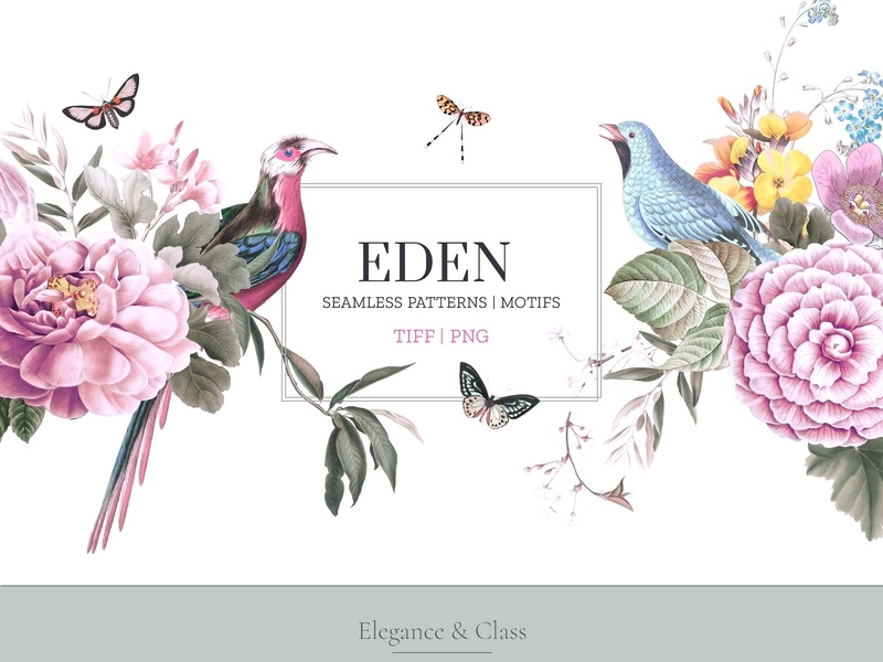 EDEN, Essence of elegance. fabric pattern fabric elegant wallpapers floral flower eden print branding pattern design logo illustration