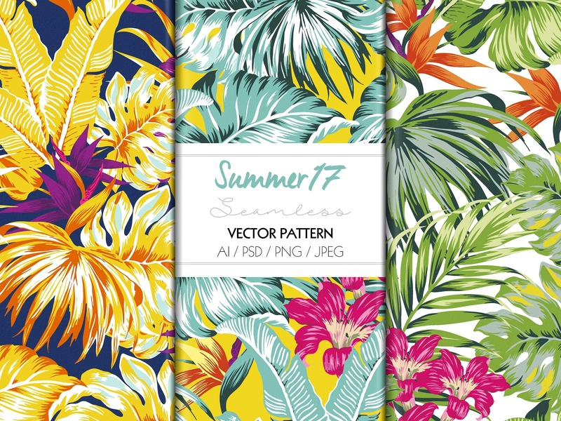 TROPICAL SUMMER PRINT by Pattern Texture on Dribbble