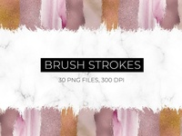 Foil and Watercolor Brush Strokes