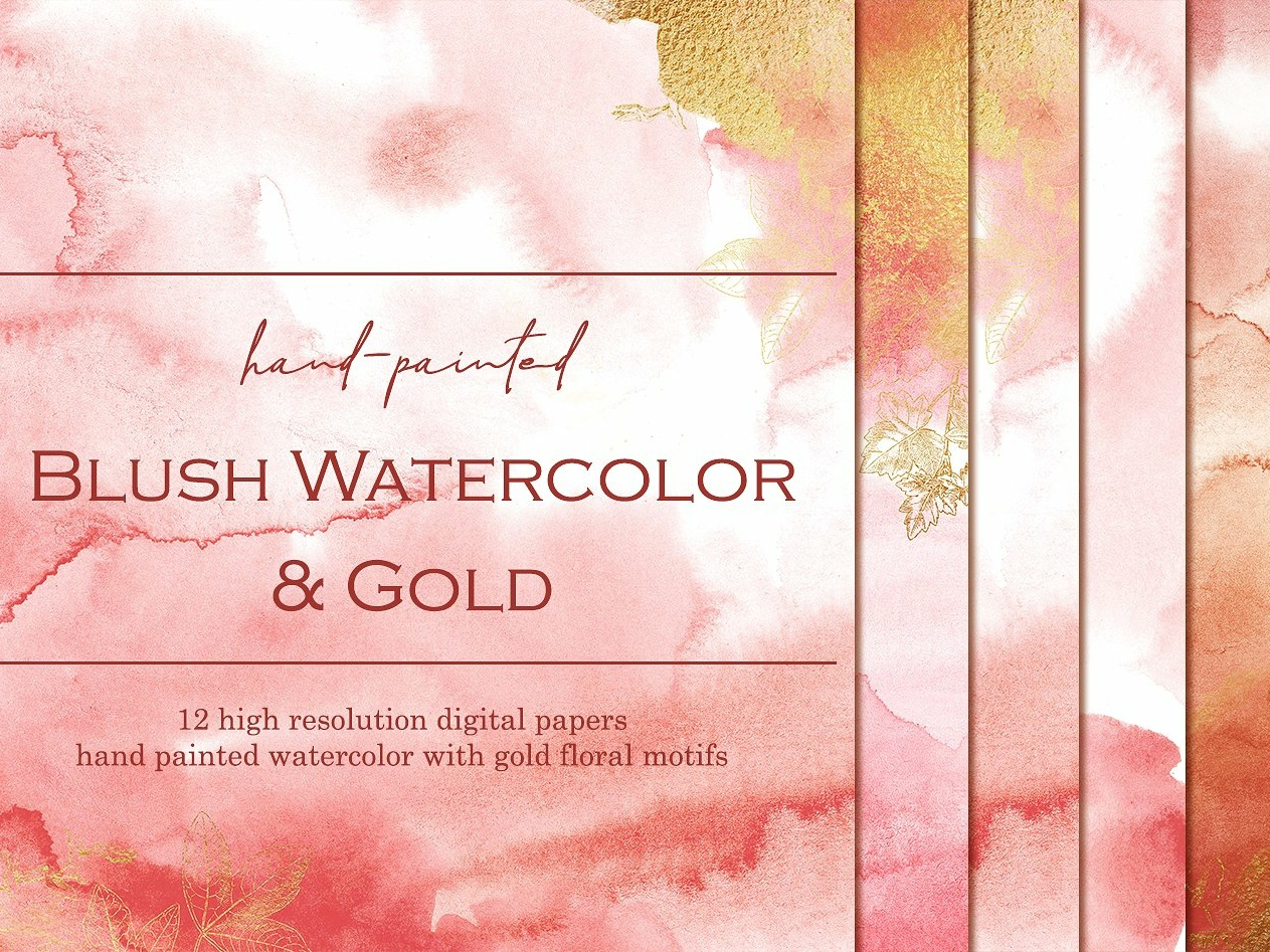 Blush Watercolor Gold Digital Papers Hand Painted Textures Cm 1 By Texture On Dribbble