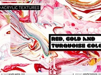 Red, Gold & Turquoise liquid texture