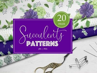 Watercolor Succulents Patterns