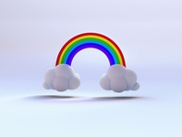 Clouds and rainbow icons icon digital creative colors render digitalart 3d illustration