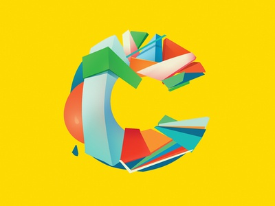 Letter C shapes abstract color yellow letter c