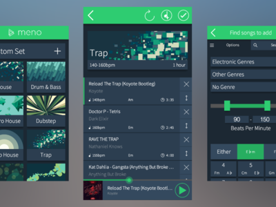 Meno flat music interface mobile app blue dark
