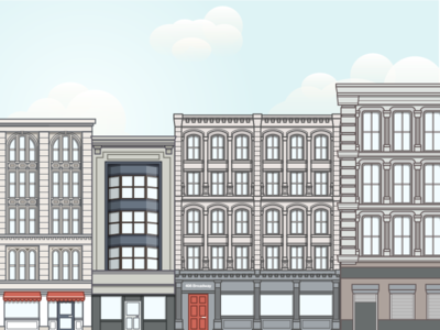 Broadway Illustration new york illustration buildings flat line