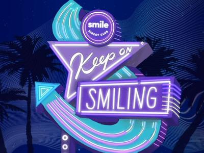 Keep on Smiling - Neon night light neon branding vector typography lettering illustration design animation