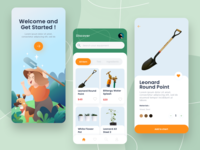 Mobile E-ccomerce Gardening Tools uiux ui ecommerce illustraion mobile ios app ios icon shovel gardening app activities