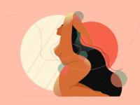 Body Positivity Illustration texture brush flat simple beauty natural pose gesture love body girl women