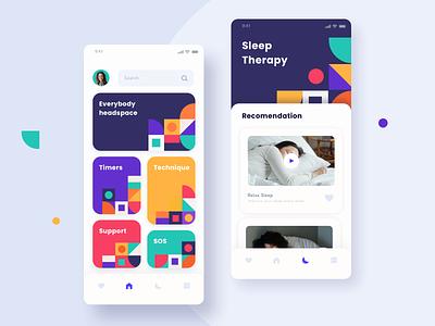 Meditation & Sleep App Exploration exploration sleep meditate texture flat branding icons design app ui