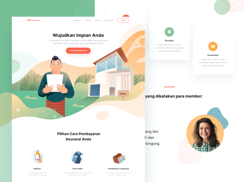 Insurance Illustration and Landing Page pattern protection home house gradient flat icons illustration illustrations insurance desktop web homepage andingpage