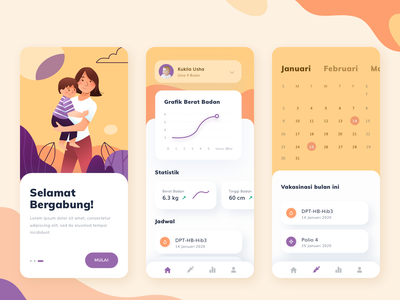 Child Health Monitoring App ui clean color icons illustrations illustration rounded cards development growth appointment event calendar stats chart graph onboarding ios kid child